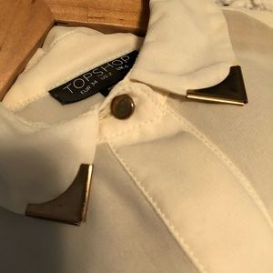 Top Shop Ivory Blouse with Gold Detail